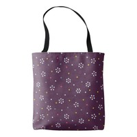 Purple Dotted Flower Pattern Tote Bag