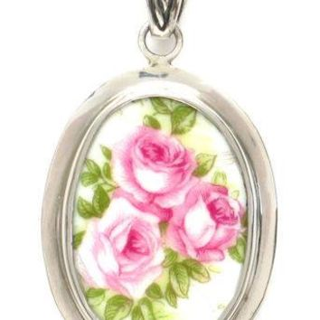 Rose Trio Sterling Silver Broken China Jewelry Oval Pendant
