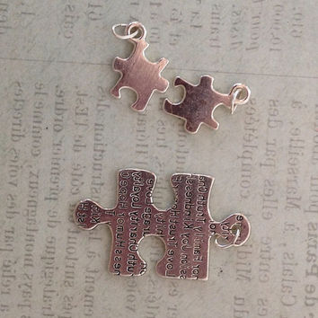 Puzzle Pieces Charms, Necklace Charms, Happiness Charms, Family Charms, Charms for Earrings, Jewelry Charms, Charms with Positive Sayings