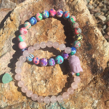 The Happy Hippie, Bracelet set- made with 6mm Rose Quartz, 4mm Malachite, pink tone Buddha Bead and Plolymer Clay