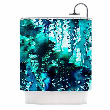 "Ebi Emporium ""The Perfect Storm - Turquoise"" Blue Teal Painting Shower Curtain"