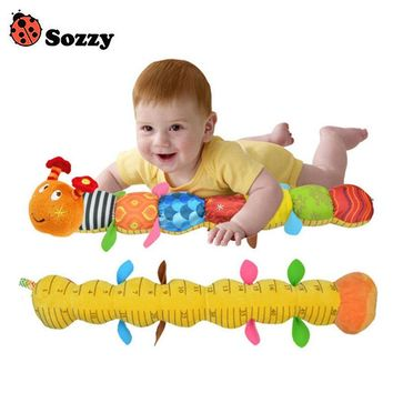 Sozzy Soft Musical Caterpillar Baby Rattle Toy Height Gauge with Ring Bell Cute Cartoon Animal Plush Doll Early Educational
