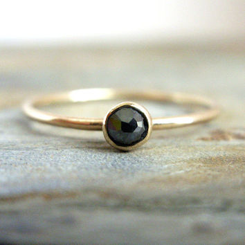 3mm Tiny Rose Cut Black Diamond Ring - Solid 14k Gold and Diamond Solitaire Promise Ring in Your Choice of Smooth or Hammered Band