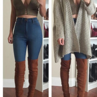 Faux Suede Thigh-High Boots - Tan- FINAL SALE