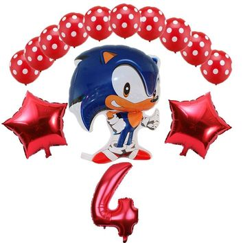 Sonic the Hedgehog Balloons 14pcs/lot Super Hero Game Fans Foil Balloon Boy Girl Brithday Party 32 inch number balloons decor