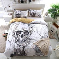 3d Flowers skull Duvet Cover With Pillowcases Sugar Skull Bedding Set