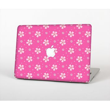 The Pink & Tiny White Floral Pattern Skin Set for the Apple MacBook Air 13""