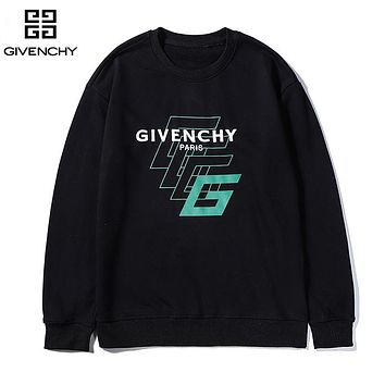 Givenchy casual couples monogrammed printed long-sleeved hoodies Black