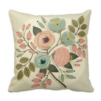 Vintage,floral,hand painted,water color,cute,girly throw pillow