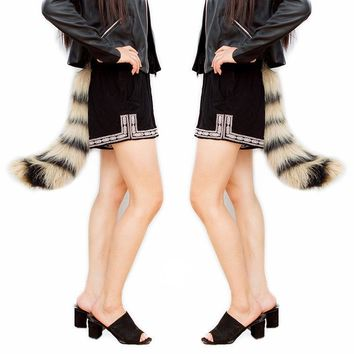 New Arrival Sexy Women Ladies Faux Fur Fox Tail Cheerleader Costumes For Halloween Cosplay Lingerie School Girl Cute Waist Belt