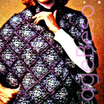 High-Neck Poncho Zippered Vintage CROCHET Pattern Retro 1970s Instant Download Pdf  Granny Square easy then bump up a little for zipper