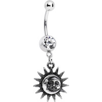 Clear Gem Sun Meets Moon Celestial Dangle Belly Ring | Body Candy Body Jewelry