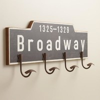 Broadway Wood 4-Hook Wall Storage