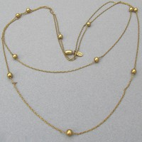 "Signed VENDOME 1970's Vintage Simple 53"" Long Gold Tone & Ball Bead Chain Necklace"