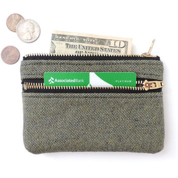Wallet Coin Purse Double Zipper Pouch Denim Navy Tan