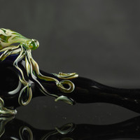 Octopus Glass Pipe Hand Blown Thick Wall Spoon in YOU CHOOSE the COLOR & Camouflage Swirl, Made to Order