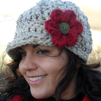 Crochet Newsboy Hat with REMOVABLE Flower by SoLaynaInspirations