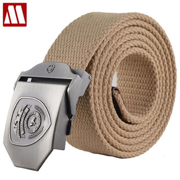 Military Belt Men's Canvas Belt with Automatic Buckle