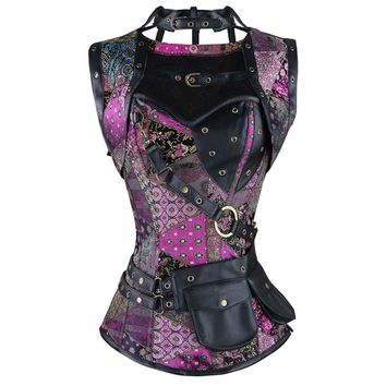 Women's Plus Size Retro Gothic Steampunk Corset Spiral Steel Boned  Corset Brocade Bustiers and Corsets with Pouch Belt