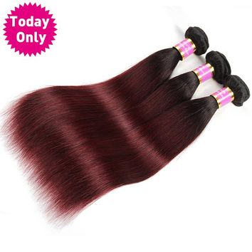 Burgundy Brazilian Straight Hair Ombre Human Hair Weave Bundles Two Tone 1b 99J Non Remy Hair Can Buy 3 or 4 Pcs