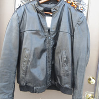 80s London Fog Mens  black Leather Cafe Racer  Jacket Vintage SZ 42