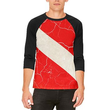 Diver Down Distressed Weathered Flag Mens Raglan T Shirt