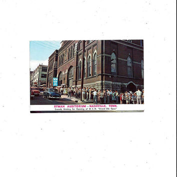 1950s Vintage Color Photo Print Postcard of Ryman Auditorium, Nashville, Tennessee, Unposted, Grand Ole Opry WSM, Vintage Postcard, Ephemera