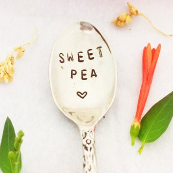 Custom Baby Spoon, Stamped Baby Spoon, Personalized Baby Spoon, Sweet Pea Spoon, Hand Stamped spoon, Baby Spoon, Baby Gifts, Shower Gift