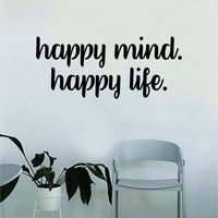 Happy Mind Happy Life Quote Wall Decal Sticker Bedroom Home Room Art Vinyl Inspirational Decor Yoga Namaste Funny Studio