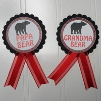 Papa Bear Baby Shower Pin, Red and Black plaid pin for dad to be or Grandma to be to wear at Baby Sprinkle, with a Pin