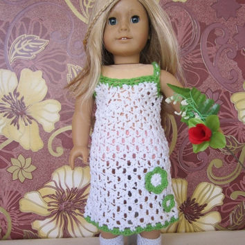 ON SALE - 10% OFF Crochet American girl doll dress and booties...our generation 18 inches doll... boutique