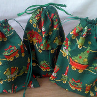 3 Toy Train Christmas Drawstring Fabric Gift Bags Upcycled