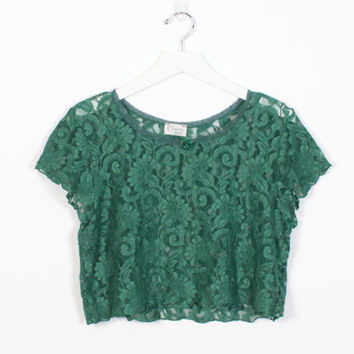 Vintage 90s Crop Top SHEER Hunter Forest Green Lace Cropped Top 1990s Shirt Soft Grunge Blouse Hipster Rave Lingerie Night Shirt M Medium
