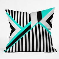 Elisabeth Fredriksson Turquoise Stripe Combination Throw Pillow