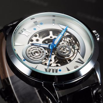 FORSINING  Galaxy Series Men's Leather Strap Watch Automatic Mechanical Male Wristwatch Hand Watch Skeleton Steampunk Reloj