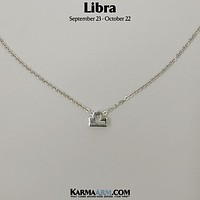LIBRA | Zodiac | Astrology Collection: 18K White Gold PL | Birth Sign Necklace