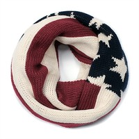 American Flag Print Knit Infinity Scarf