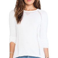 Autumn Cashmere Sheer Athletic Crew Neck Sweater in White