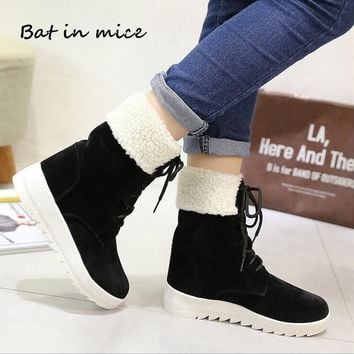 fashion Winter women casual Warm Plush Ankle Snow Boots shoes women New Round Toe Lace-Up Flats boots botas woman Mujer W368