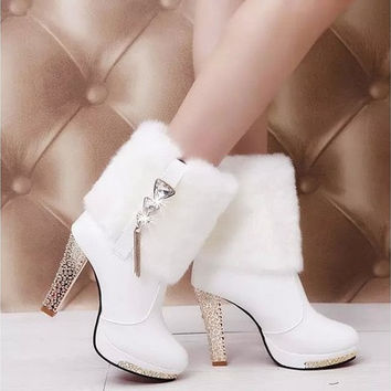 sexy women high heel boots fashion fur boots winter warm shoes white black color heel high 10cm [8834007308]