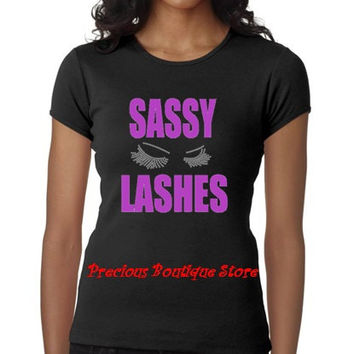 Sassy Lashes Rhinestone/ Purple Vinyl Combination with Lashes Shirt