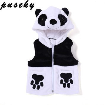 Puseky New Cartoon Panda Baby Boy Girls Autumn Winter Hoodies Vests Kids' baby Cotton-padded Velvet Waistcoat With Hood