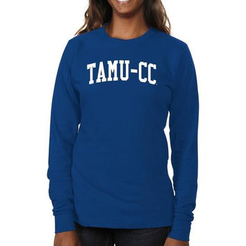 Texas A&M Corpus Christi Islanders Ladies Basic Arch Long Sleeve Slim Fit T-Shirt - Royal Blue