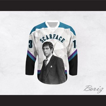 Scarface Tony Montana 13 Geometric Design Hockey Jersey