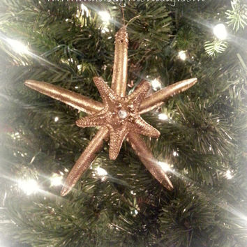 Gold Starfish Ornament Set of 3.  Beach Theme Christmas Decoration.