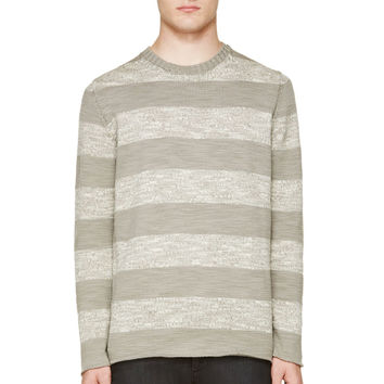 Undercover Gray Wool Marled Striped Sweater