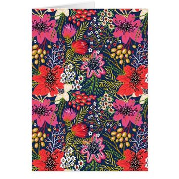 Vintage Bright Floral Pattern Fabric Greeting Card