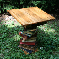 Ambrosia Maple Book Base End Table Edgar Allan by BirnamWoodworks
