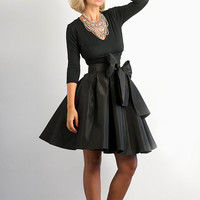 Bow Belted Full Black Taffeta Skirt