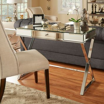 INSPIRE Q Omni X-Base Mirrored Top 1-drawer Campaign Desk | Overstock.com Shopping - The Best Deals on Desks